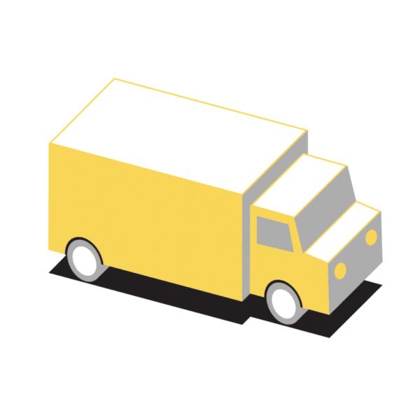 Icon Laserhub-Plattform Rahmenverträge gelber Truck