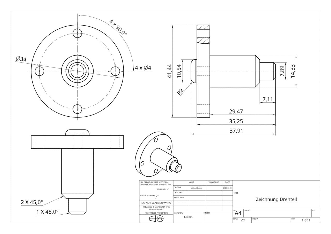 Eine technische Zeichnung für CNC-Drehteile.
