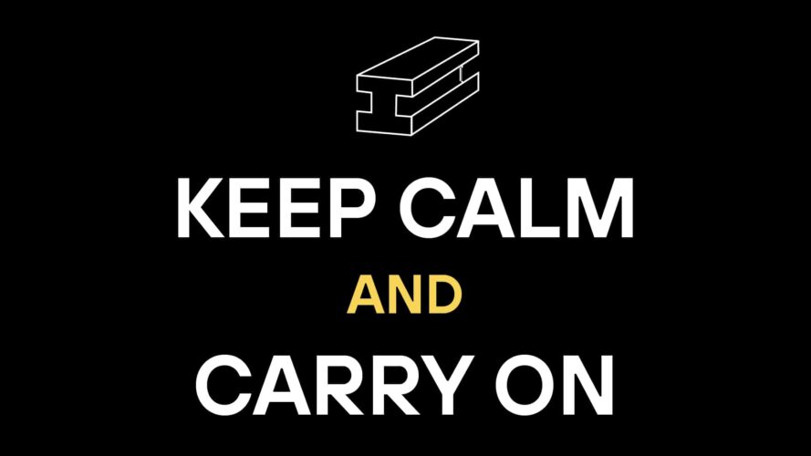Illustrierter Stahlträger mit Spruch: Keep calm and carry on