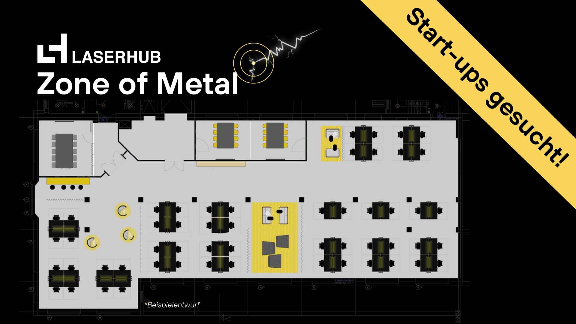 Illustration des Raumplans der Zone of Metal von Laserhub.