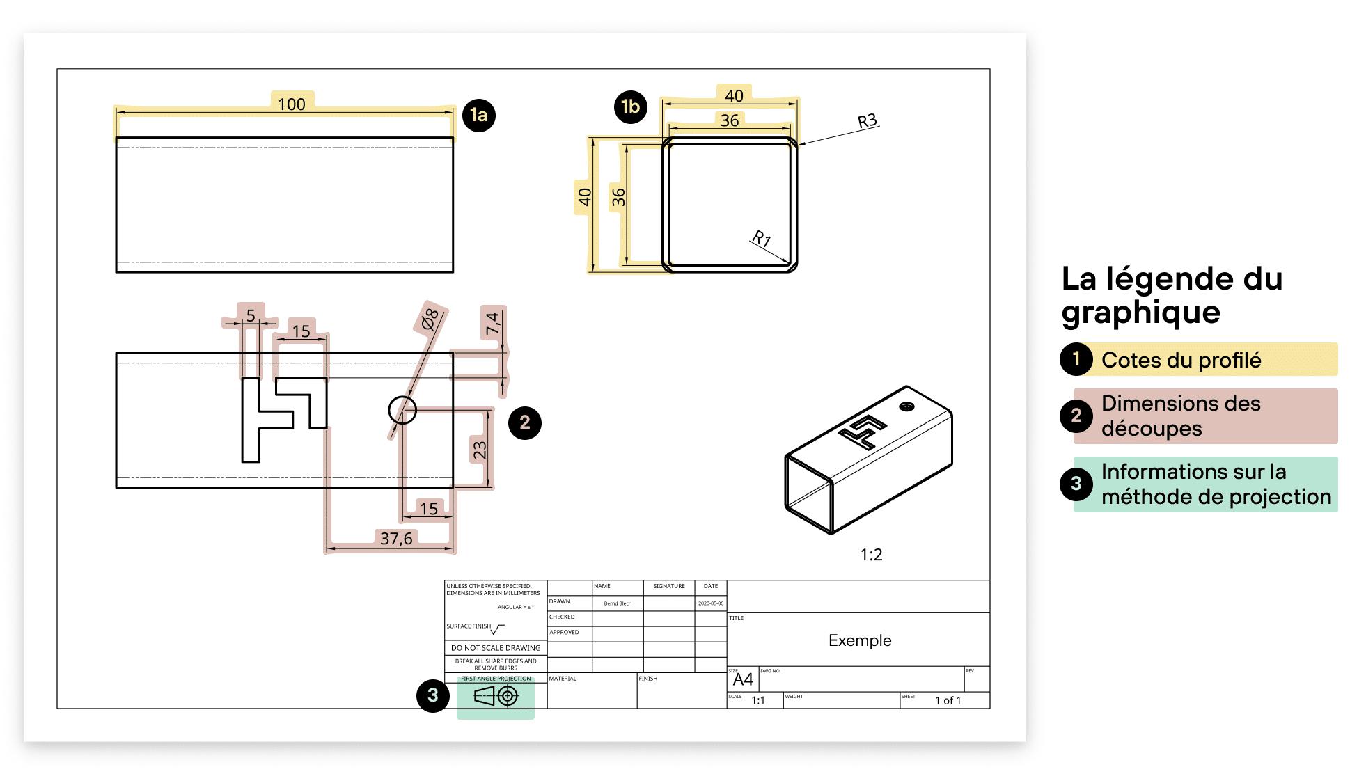 Exemple Dessin PDF pour vos pièces de laser du tube